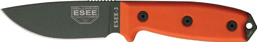 ESEE -3 Plain Edge OD Blades with Orange G10 Handles and Black Sheath (Blade Orange Handle)
