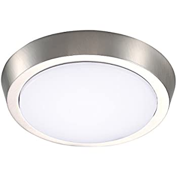 Getinlight 7 inch flush mount led ceiling light with etl listed soft white 3000k brushed nickel finish in 0302 2 sn
