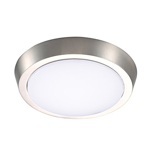 GetInLight 7 Inch Flush Mount LED Ceiling Light with ETL Listed, Soft White 3000K, Brushed Nickel Finish, IN-0302-2-SN