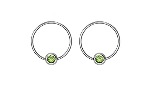 (Pair of 20g 8mm Every-Day Surgical Steel Green Jeweled Captive Bead Ring Body Piercing Hoops)