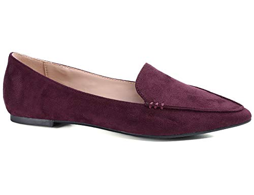 Greatonu Women's Faux Suede Comfort Slip-on Penny Loafer Flat Shoes (7 US, Burgundy Pointed Toe)