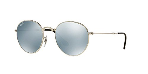 Ray-Ban Men's Foldable Round Sunglasses, Silver/Green Mirror Silver, One - Ray Ban Foldable