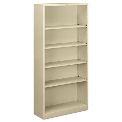 HON Brigade Metal Bookcase - 5-Shelf Bookcase, 34-1/2w x 12-5/8d x 72h, Putty (HS72ABC)