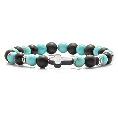 Xusamss Fashion Christian Cross Bangle 8MM Onyx Beads Bracelet,7 1/2 Wrist (Onyx Lake Blue)