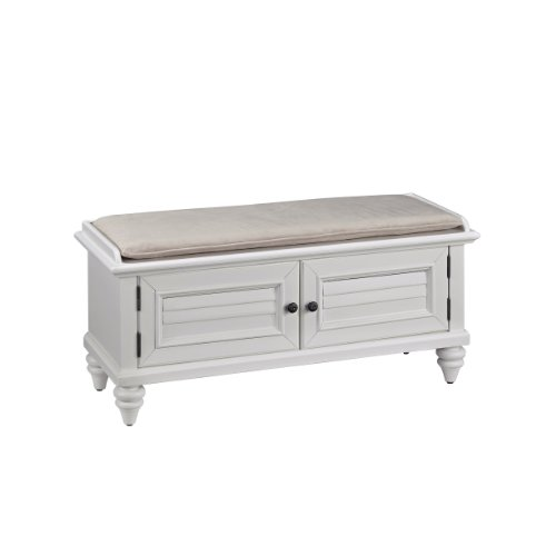 Home Styles Bermuda Upholstered Bench, Brushed White