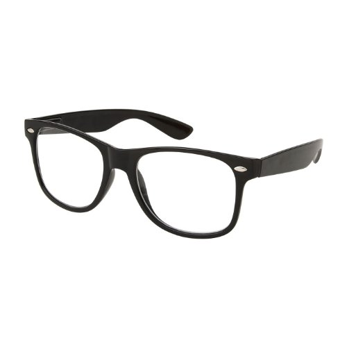 Halloween Glasses - RETRO NERD Geek Oversized BLACK Framed Spring Temple Clear Lens Eye Glasses