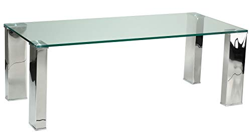 Cortesi Home Isaak Contemporary Glass Coffee Table with Chrome Finish