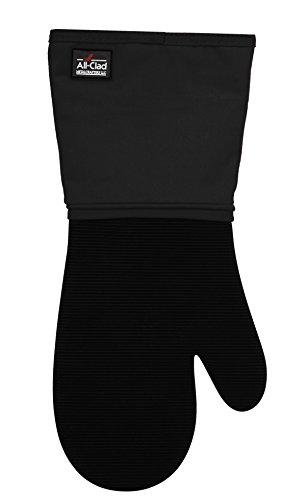 All-Clad Textiles Professional 600-Degree Stain Resistant Cotton Silicone Oven Mitt with No-Slip Grip, Black