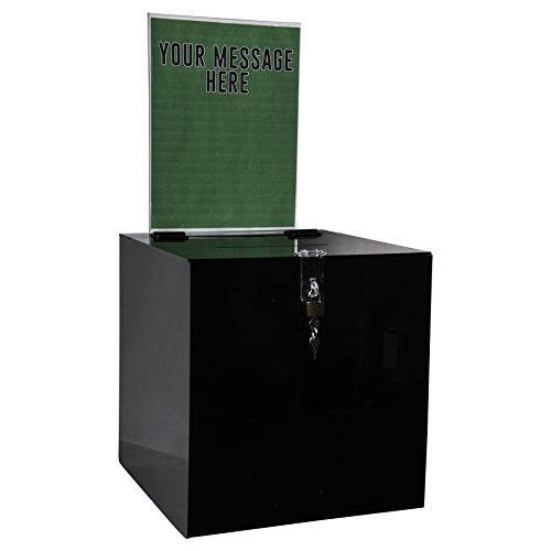 Clear-Ad - SBB-1212-H-BLK - Acrylic Donation Box with Lock and Sign Holder - Plastic Countertop Container for Voting, Charity, Ballot, Survey, Raffle, Contest, Suggestion, Tips, Comments (12x12 Black) by Clear-Ad