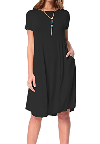 Womens Summer Short Sleeve Draped Swing Loose Casual Tunic Dress