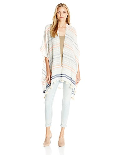 Boho-Chic Vacation & Fall Looks - Standard & Plus Size Styless - Lucky Brand Women's Textured Stripe Kaftan, White, One Size