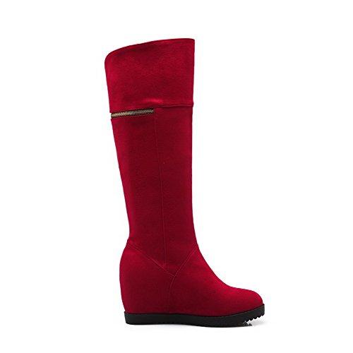 Odomolor Damen Ziehen auf Mittler Absatz Mattglasbirne Rein Hoch-Spitze Stiefel, Rot, 36