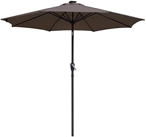 Yescom Solar Umbrellas Patio Umbrella 9 FT LED Umbrellas 32LED Lights Tilt and Crank Outdoor Table Umbrellas Chocolate