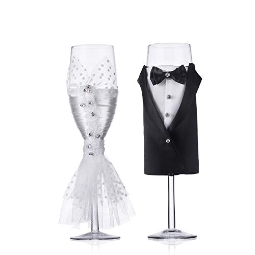 - Wedding Tuxedo Dress Wine Glasses-ULA Handmade Bride and Groom Champagne Flutes for Toasting,Wedding Gifts,Bridal Shower Gifts,Wedding Favors,Couples Gifts,Wedding Decorations(set of 2)