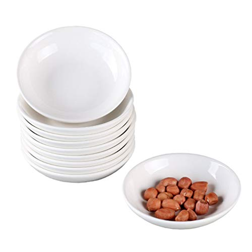 (Porcelain White Small Plate Home Hotel 4 inch Round Sauce Dish Set of 10)