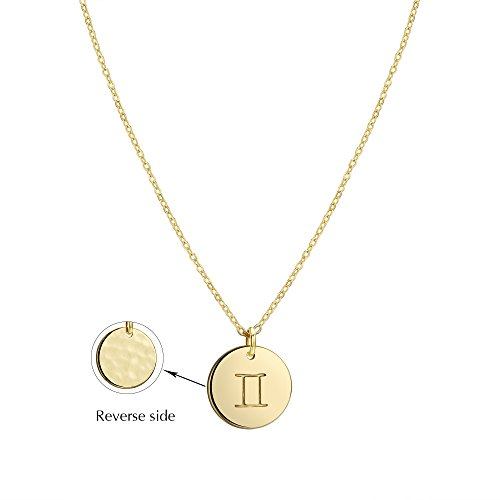 Befettly Constellation Necklace Pendant 14K Gold-Plated Hammered Round Disc Engraved Zodiac Sign Pendant 17.5'' Adjustable Dainty Necklace (Zodiac Sign Pendant)