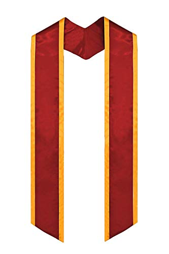 GraduationMall Plain Graduation Honor Stole Angled End Red With Gold Trim Unisex Adult 72