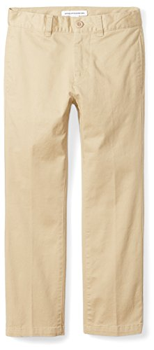Amazon Essentials Boys' Straight Leg Flat Front Uniform Chino Pant, Khaki,7