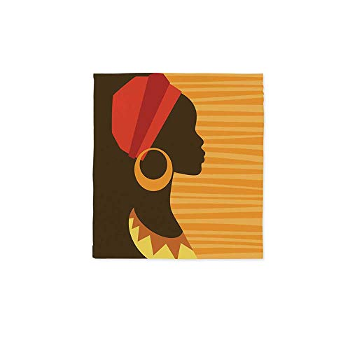 Afro Decor Waterproof Tablecloth,Girl Profile Silhouette with Earrings Grace and Elegance Icon Image for Dining Table Tea Table Desk Secretaire,28.3