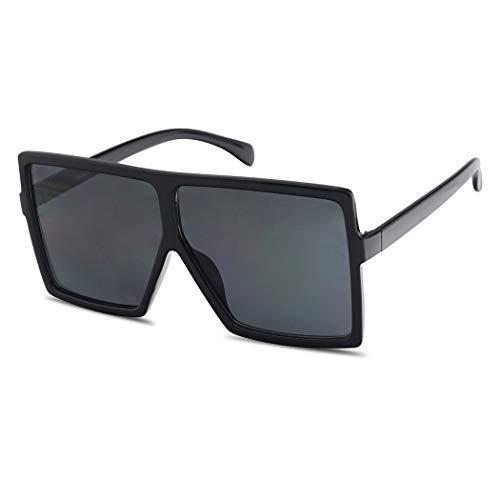 Extra Large Oversized Slim Square Flat Top Shield Mod Sunglasses Designer Shades (Black Frame | ()