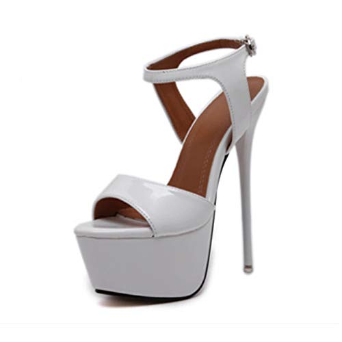 (Women's Open Toe Platform Sky High Stiletto Heel Ankle Strap Buckle Dress Party Heeled Sandals #4 White Tag 38 - US 7)