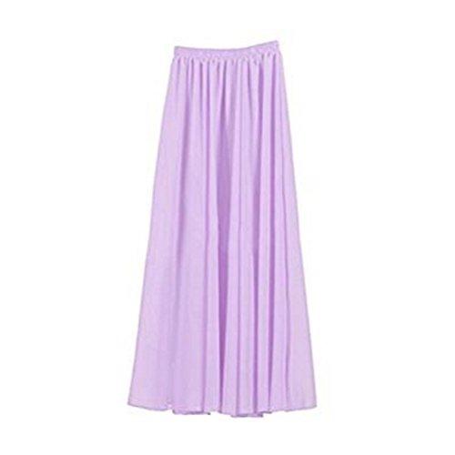 FuweiEncore Jupe Femme en Mousseline de Soie Double Couches Haute Taille Jupe Plisse Longue Taille lastique Couleurs Varies Jupe Patineuse Violet