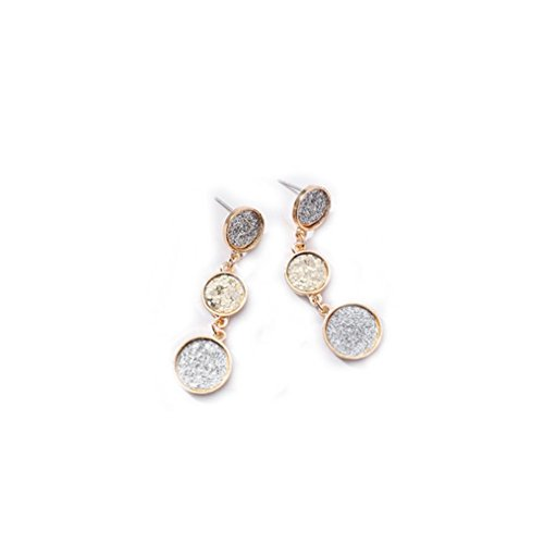 Besooly Diamond-Encrusted Earring Love Heart for Girls Zircon Earrings Jewelry (B)