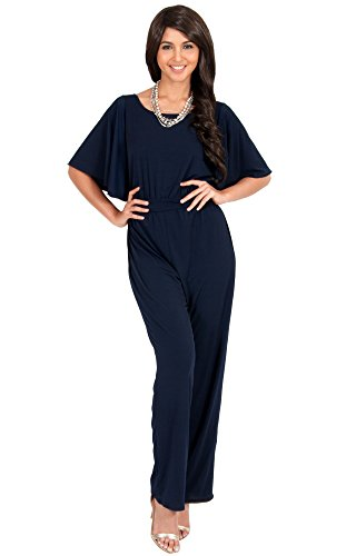 4d026e6ee8cc KOH KOH Women Short Sleeve Wide Leg Long Casual Cocktail Pants One Piece Jumpsuit  Jumpsuits Pant