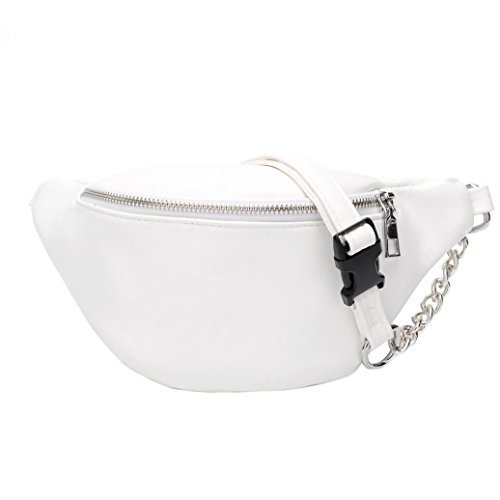 - Inkach Waist Pack Bags - Fashion Womens Chain Leather Fanny Packs - Messenger Shoulder Chest Bag (White)