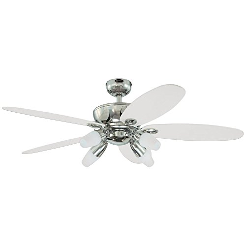 Westinghouse 7255900 Panorama Four-Light 52-Inch Reversible Five-Blade Indoor Ceiling Fan, Chrome with Frosted - Ceiling Gloss Blades Fan High
