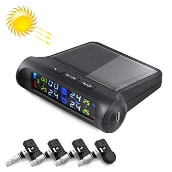 Uniqus PZ802-I Solar Powered Video TPMS Internal Tire Pressure Monitor with LCD color Display Screen (Black)