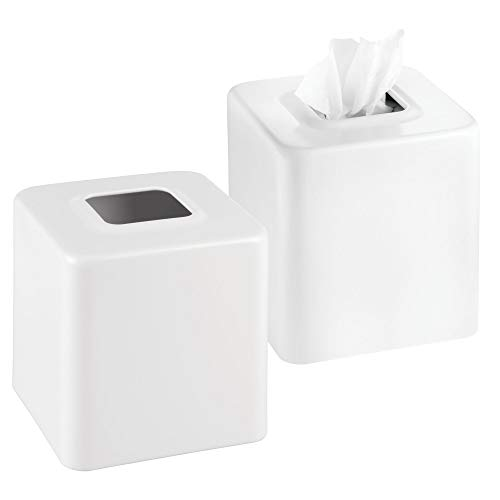 mDesign Modern Square Metal Paper Facial Tissue Box Cover Holder for Bathroom Vanity Countertops, Bedroom Dressers, Night Stands, Desks and Tables, 2 Pack - White