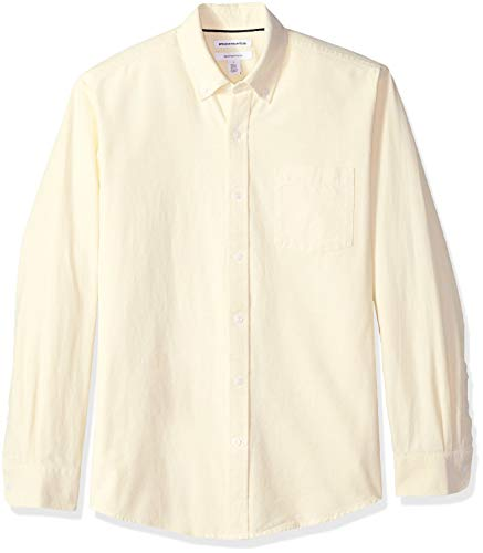 Amazon Essentials Men's Regular-Fit Long-Sleeve Solid Pocket Oxford Shirt, Yellow, ()