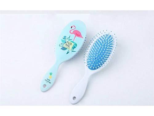 Cepillo de pelo de mujer Flamingo Impreso masaje peine de goma de color peine de pelo ancho peine (azul) Cepillo desenredante Huertuer