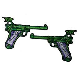 Novelty Iron On Patch - Creepy Zombie Dead Green Spider Web Gun Applique Set ()