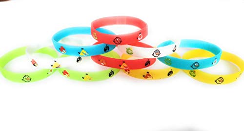 MA Creations Angry Birds Bracelets Kids Birthday Party Favors - Glow in The Dark (10 -