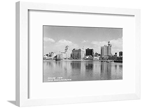 ArtEdge California City Skyline View Photograph-Long Beach, CA White Framed Matted Wall Art Print, 12x16 in