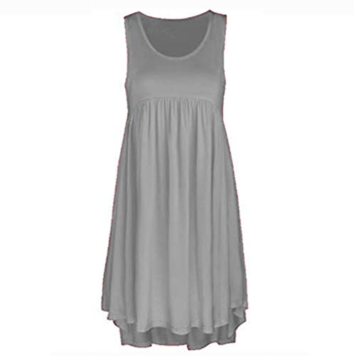 Women Dress Casual O Neck Lace Sleeveless Dress Above Knee Dress Loose Party Mini Dress Gray ()