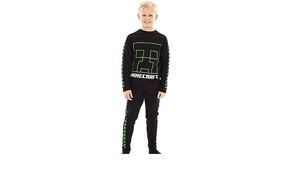 Vanilla Underground Minecraft Tracksuit Creeper Boys Black Jogging Bottoms and Sweatshirt Set