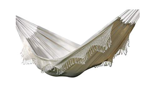 Natural Hammock Brazilian (Vivere Brazilian Style Double Deluxe Hammock in Natural with Fringe Outdoor Summer Relax)
