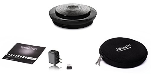 Jabra Speak 710 Speakerphone (Wireless) Bundle w/Wall Charger | Bluetooth Dongle, USB | PC/MAC Compatible with UC Softphones, Smartphones, iPad, Tablets | UC Version - Skype, Cisco, Avaya #7710-409-B by Global Teck Worldwide (Image #1)