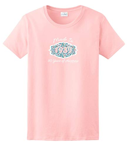 80th Birthday Candles Cards 80th Birthday Gift Made 1939 Paisley Crest Ladies T-Shirt Medium Light Pink
