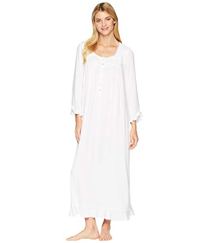 Eileen West Women's Cotton Modal Ballet Long Sleeve Nightgown White Large (Nightgown Pintucked)