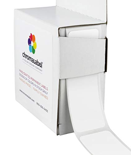White Labels Inventory Rectangle (ChromaLabel 1 x 3 inch Color-Code Labels | 250/Dispenser Box (White))