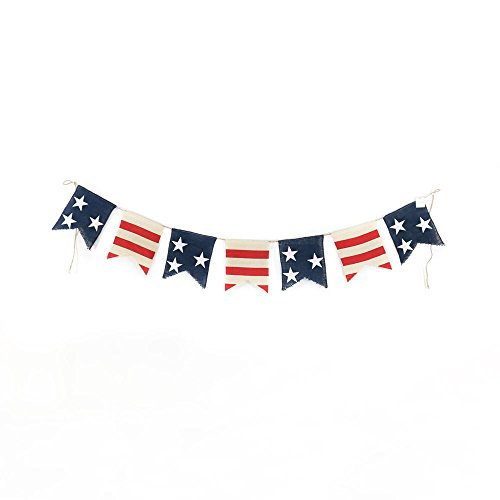 Patriotic Red White Blue Hanging Banner Decoration (Burlap) with Star Design for Birthday Party, Get Together, 4th of July Events, Thanksgiving - Easy Hang on Rooms, Tables, Walls]()