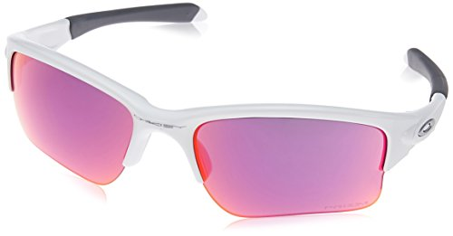 Oakley Youth Boys OO9200 Quarter Jacket Rectangular Sunglasses, Polished White/Prizm Field, 61 mm