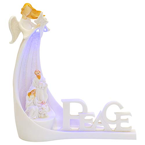 Napco Imports Peace Holy Family Under Angel LED Light Up 7 x 8 Inch Polystone Nativity Figurine
