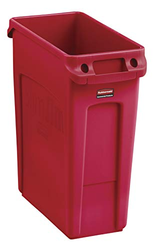(Rubbermaid Commercial Products Slim Jim Plastic Rectangular Trash/Garbage Can with Venting Channels, 16 Gallon, Red (2018370))