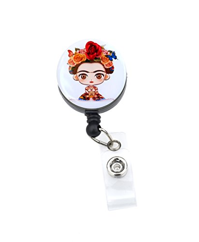Sizzle City Rhinestone Badge Holder, Badge Clip, Nurse Badge Retractable ID Badge Reel, Name Tag (Slide Clip, Frida Kahlo 1.25)