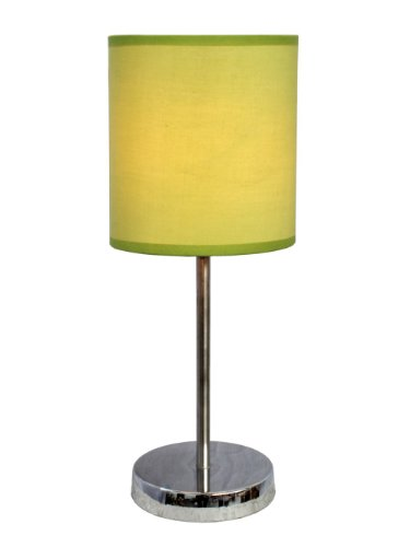 Simple Designs LT2007-GRN Chrome Mini Basic Table Lamp with Fabric Shade, Green (Green Lime Lamp)
